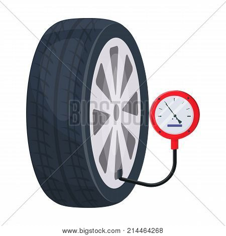 Wheel and manometer single icon in cartoon style for design.Car maintenance station vector symbol stock illustration .