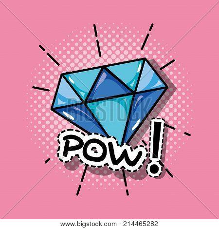 pop art diamond patch design vector illustration