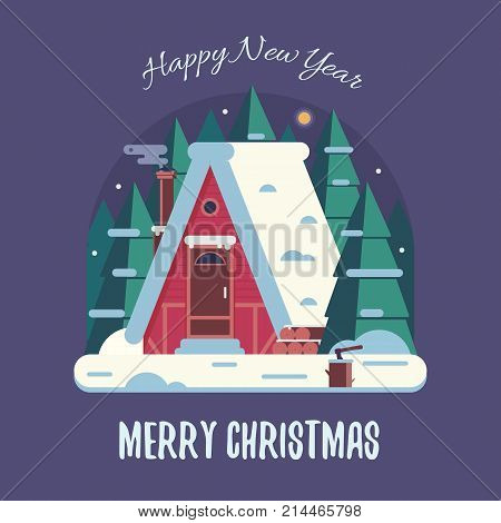 New Year and Christmas card with night rural scene and forest winter house with smoking chimney. Wintertime countryside background with rural snow cottage building and congratulation Xmas text.