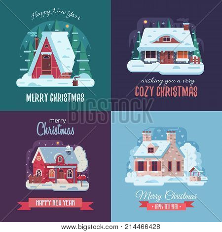 Christmas cards set with forest winter houses on countryside background. Xmas congratulation postcards with snowy countryside cottages and farmhouses on rural landscape in flat and cartoon style.