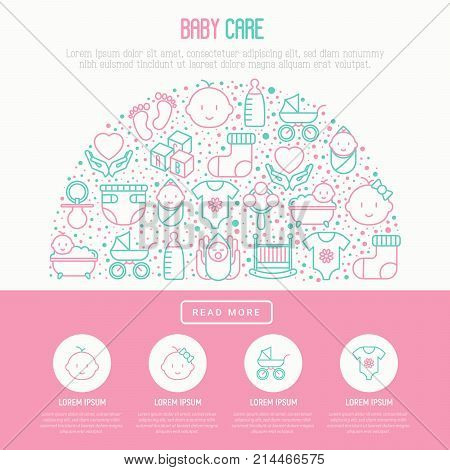 Baby care concept in half circle with thin line icons: newborn, diaper, pacifier, crib, footprints, bathtub with bubbles. Vector illustration for banner, web page, print media.
