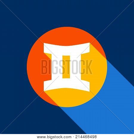 Gemini sign. Vector. White icon on tangelo circle with infinite shadow of light at cool black background. Selective yellow and bright navy blue are produced.