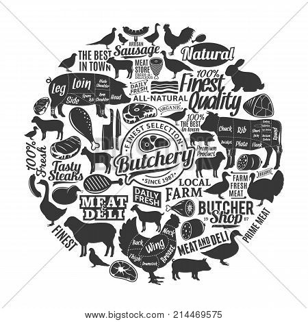 Vector butchery logo icons design elements and farm animals silhouettes for groceries meat markets packaging and advertising