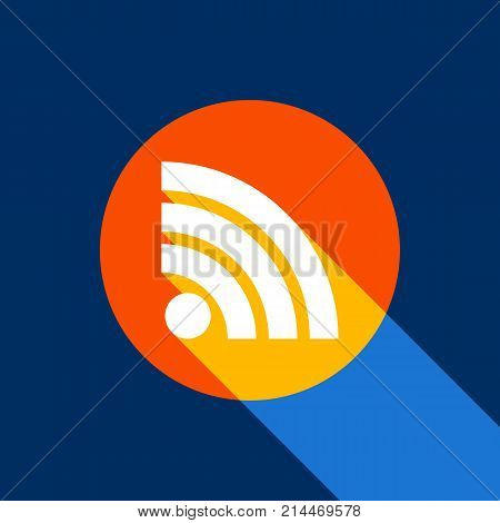 RSS sign illustration. Vector. White icon on tangelo circle with infinite shadow of light at cool black background. Selective yellow and bright navy blue are produced.
