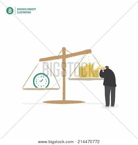 Businessman Balance Money And Time On White Background Illustration Vector. Business Concept.