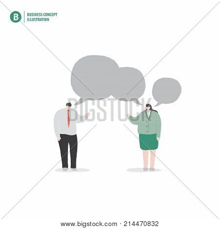Businessman And Speech Bubble Meaning Advice Or Consult Or Thinking On White Background Illustration