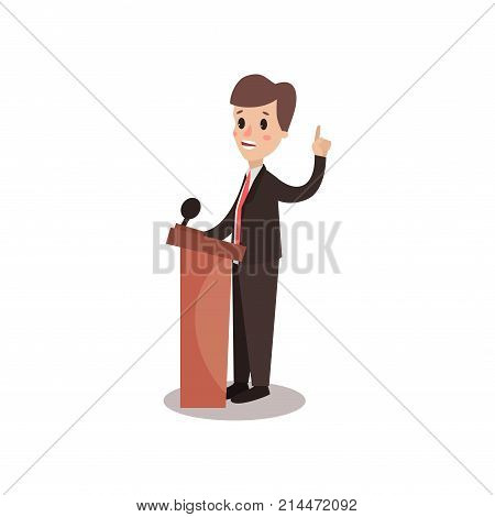 Politician man character standing behind rostrum and giving a speech, public speaker, political debates vector Illustration isolated on a white background