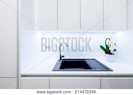 Interior Design New Modern White Kitchen With Kitchen Appliances.