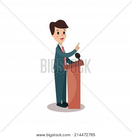 Politician man character standing behind rostrum and giving a speech, public speaker, political debates, side view vector Illustration isolated on a white background