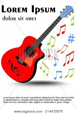 Guitar multicolored in vivid colors colored uneven distributed musical notes. Leaflet flyer book cover template on white background. Vector EPS 10