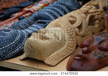 Ethnic Wooden Carved Masks On Retail Market