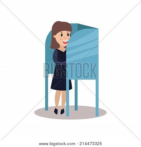 Woman character standing in voting booth casting her ballot, people taking part in voting vector Illustration isolated on a white background