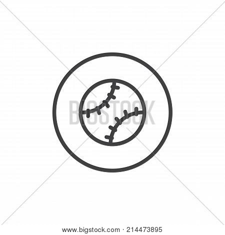 Baseball ball line icon, outline vector sign, linear style pictogram isolated on white. Softball symbol, logo illustration. Editable stroke