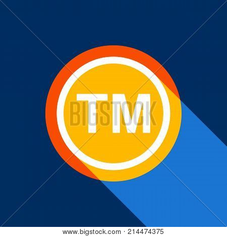Trade mark sign. Vector. White icon on tangelo circle with infinite shadow of light at cool black background. Selective yellow and bright navy blue are produced.