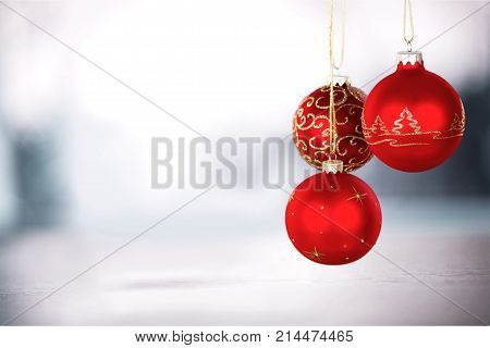 Balls red shiny christmas decorative holiday background holiday party