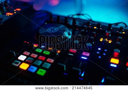 backlit buttons for music professional mixer DJ to play musical drives with controllers volume