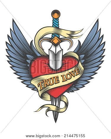 Heart with wings pierced by dagger and ribbon with lettering True Love drawn in tattoo style. Vector illustartion