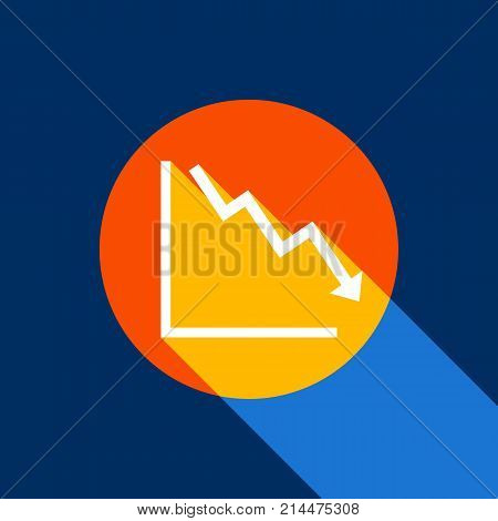 Arrow pointing downwards showing crisis. Vector. White icon on tangelo circle with infinite shadow of light at cool black background. Selective yellow and bright navy blue are produced.