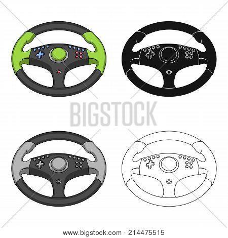 Game steering wheel single icon in cartoon, black, outline style for design.Car maintenance station vector symbol stock  illustration.