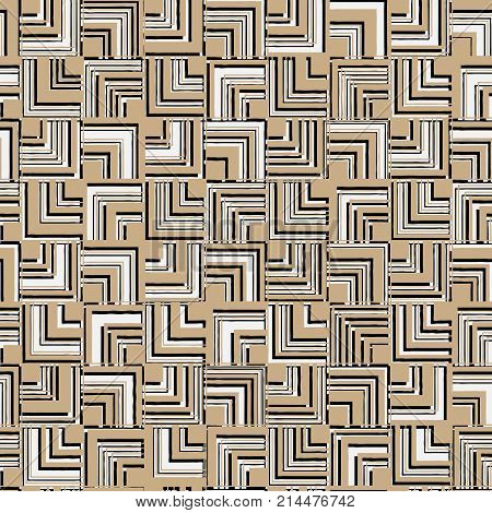 Vector seamless abstract pattern of square angle varying thickness with shadows.