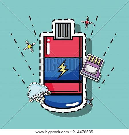 usb and micro sd with cloud data technology patches vector illustration