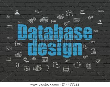 Database concept: Painted blue text Database Design on Black Brick wall background with  Hand Drawn Programming Icons