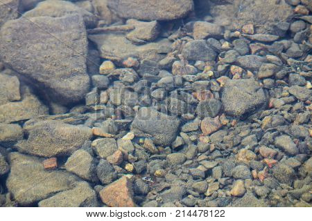 Distorted View Of Slit Covered Rocks In Water
