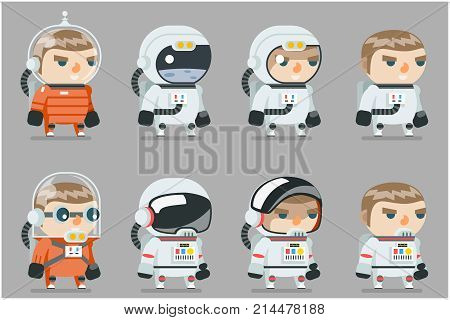Space Sci-fi Cosmonaut Astronaut Spaceman Icons Set Cartoon Game RPG Flat Design Vector Illustration