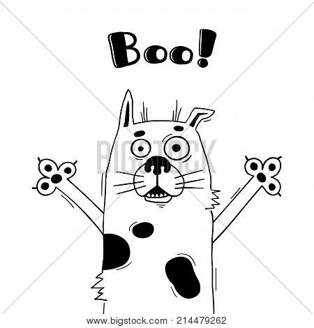 Illustration with dog who shouts - Boo. For design of funny avatars, welcome posters and cards. Cute animal in vector.