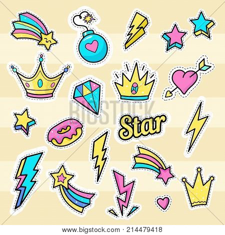 Crown star lightning patch vectors. Set of badges with bomb star word hearts diamond and donut. Hand drawn fashion stickers icons logos elements.