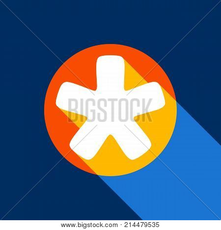 Asterisk star sign. Vector. White icon on tangelo circle with infinite shadow of light at cool black background. Selective yellow and bright navy blue are produced. poster