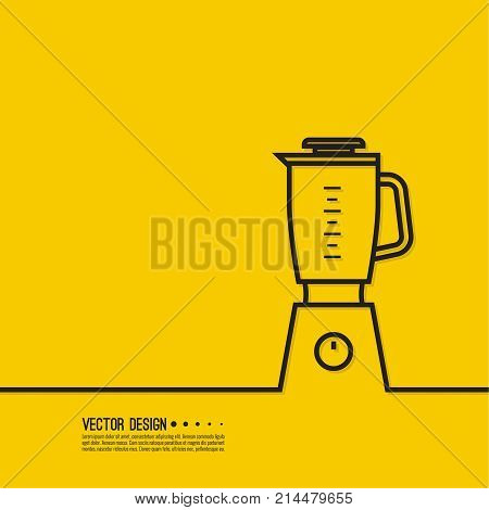 Electric kitchen appliance, blender. Blender machine to make healthy food, smoothies drinks. Vector illustration of mixer.