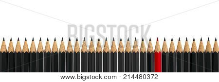 Red pencil among black pencils - conceptual image of the individuality three-dimensional rendering 3D illustration