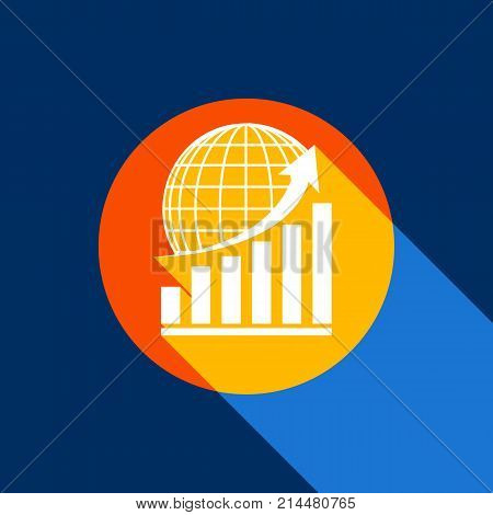 Growing graph with earth. Vector. White icon on tangelo circle with infinite shadow of light at cool black background. Selective yellow and bright navy blue are produced.