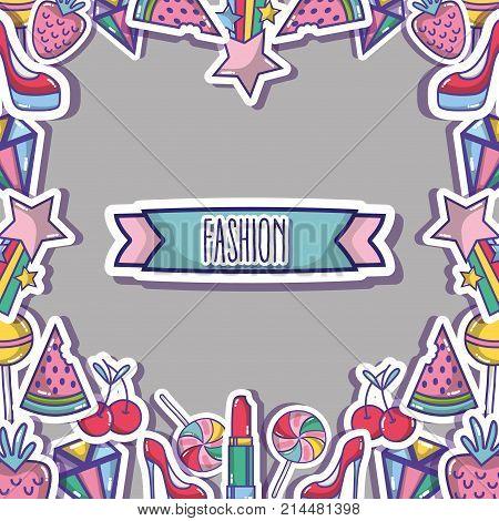fashion patches trendy backgroun design vector illustration