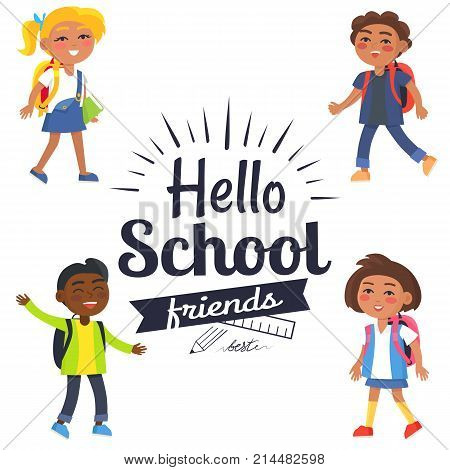 Hello school friends black-and-white sticker with inscription surrounded by colorful kids. Vector illustration of plastic ruler and graphite pencil logo