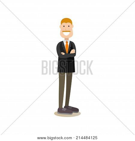 Vector illustration of businessman creative director standing with arms crossed. Creative team people flat style design element, icon isolated on white background.