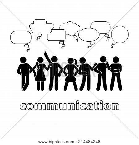 Stick figure dialog communication speech bubbles set. Talking thinking body language group of people conversation icon pictogram
