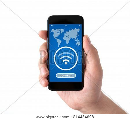 Isolated male hand holding black phone with application to search for free wi-fi on screen