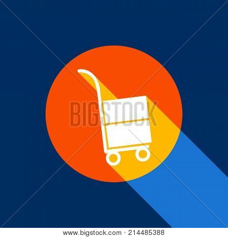 Hand truck sign. Vector. White icon on tangelo circle with infinite shadow of light at cool black background. Selective yellow and bright navy blue are produced.