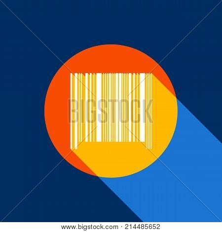 Bar code sign. Vector. White icon on tangelo circle with infinite shadow of light at cool black background. Selective yellow and bright navy blue are produced.