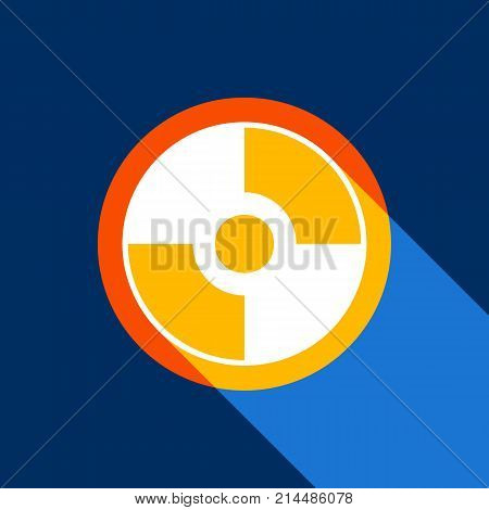Vector CD or DVD sign. Vector. White icon on tangelo circle with infinite shadow of light at cool black background. Selective yellow and bright navy blue are produced.