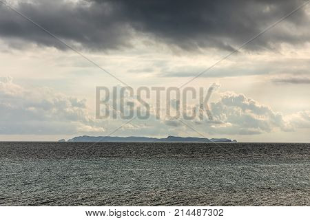 Cabrera island view from Cap Ses Salines in Majorca (Balearic Islands, Spain)