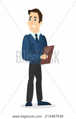 Isolated man administrator in business suit. Restaurant or hotel administration.