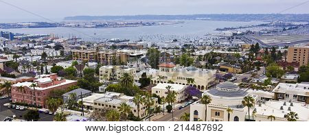 SAN DIEGO, CALIFORNIA, JUNE 7. Bankers Hill on June 7, 2017, in San Diego, California. A View of San Diego Bay from Bankers Hill in San Diego in California.