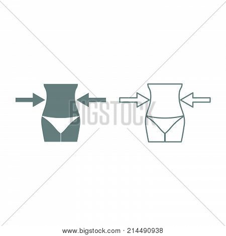 Slimming Woman Concept Icon. Grey Set .