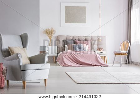 Spacious Interior Of Light Pastel Bedroom