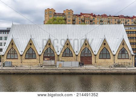 GOTHENBURG SWEDEN - MAY 13 2017: Feskekorka is an indoor fish market in Gothenburg Sweden which got its name from the building's resemblance to a Neo-gothic church.