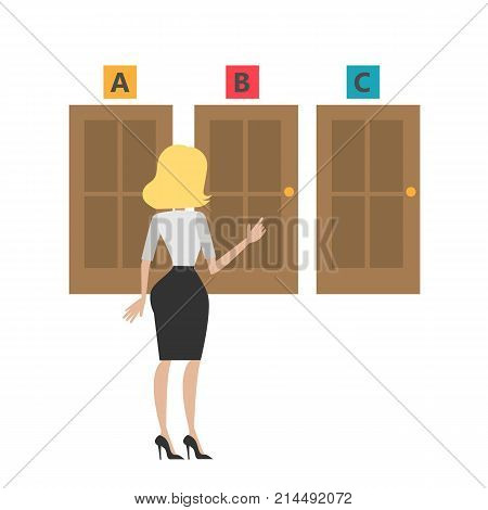 Choosing the door. Isolated businesswoman choosing the right direction.