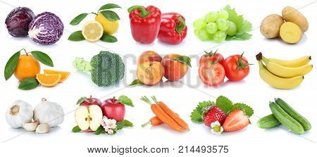 Fruit Fruits And Vegetables Collection Isolated Apple Orange Tomatoes Fresh